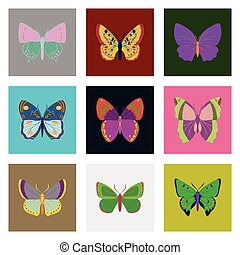 Flat icons big collection of colorful butterflies
