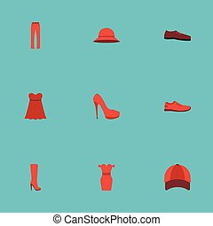Flat Icons Boots, Elegant Headgear, Heeled Shoe And Other Vector Elements. Set Of Garment Flat Icons Symbols Also Includes Dress, Sneakers, Woman Objects.