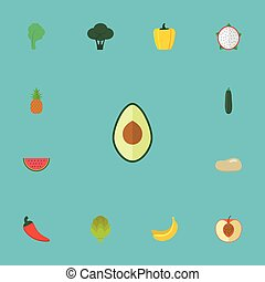 Flat Icons Cabbage, Ananas, Jungle Fruit And Other Vector Elements. Set Of Berry Flat Icons Symbols Also Includes Slice, Cucumber, Potato Objects.
