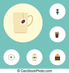 Flat Icons Cappuccino, Sweetener, Seed Pack And Other Vector Elements. Set Of Coffee Flat Icons Symbols Also Includes Seed, Cup, Capsule Objects.