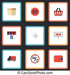 Flat Icons Case, Label, Support And Other Vector Elements. Set Of Magazine Flat Icons Symbols Also Includes Laptop, Bag, Box Objects.