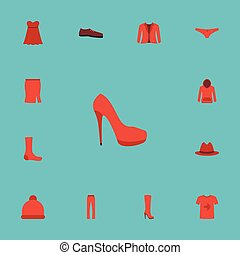 Flat Icons Casual, Hosiery, Evening Dress And Other Vector Elements. Set Of Dress Flat Icons Symbols Also Includes Beanie, Pompom, Hoodie Objects.
