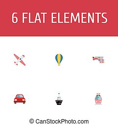 Flat Icons Chopper, Automobile, Aircraft And Other Vector Elements. Set Of Auto Flat Icons Symbols Also Includes Balloon, Automobile, Tram Objects.