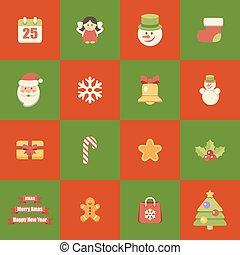 Flat icons christmas set