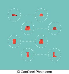 Flat Icons Coat, Apparel, Elegant Headgear And Other Vector Elements. Set Of Dress Flat Icons Symbols Also Includes Hat, Clothing, Fashion Objects.
