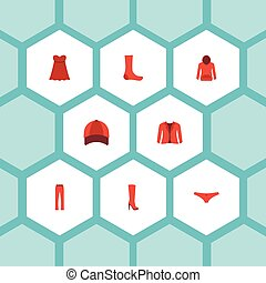 Flat Icons Coat, Pants, Evening Dress And Other Vector...