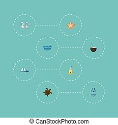 Flat Icons Cocos, Beachwear, Tortoise And Other Vector Elements. Set Of Beach Flat Icons Symbols Also Includes Sea, Waves, Hat Objects.