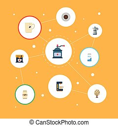 Flat Icons Coffeemaker, Paper Box, Saucer And Other Vector Elements. Set Of Beverage Flat Icons Symbols Also Includes Tree, Percolator, Milk Objects.