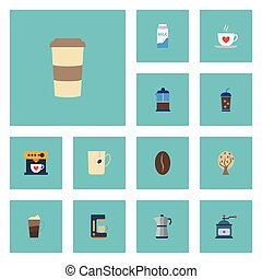Flat Icons Cup, Espresso Dispenser, Plastic Cup And Other Vector Elements. Set Of Beverage Flat Icons Symbols Also Includes Saucer, Pot, French Objects.
