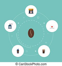 Flat Icons Cup, Latte, Arabica Bean And Other Vector Elements. Set Of Beverage Flat Icons Symbols Also Includes Grinder, Cocktail, Dispenser Objects.
