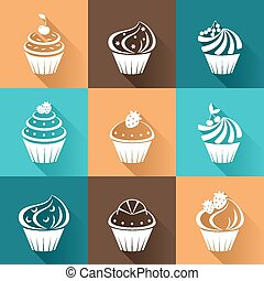 Flat icons cupcakes with long shadow.