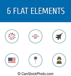 Flat Icons Decoration, Aircraft, Military Man And Other Vector Elements. Set Of Memorial Flat Icons Symbols Also Includes Military, Memorial, Day Objects.