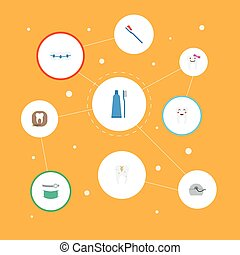 Flat Icons Dentition, Halitosis, Decay And Other Vector Elements. Set Of Dental Flat Icons Symbols Also Includes Toothpaste, Halitosis, Radiology Objects.