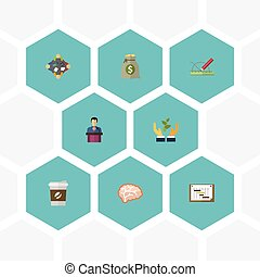 Flat Icons Design, Discussion, Break And Other Vector Elements. Set Of Idea Flat Icons Symbols Also Includes Businessman, Graph, Thinking Objects.