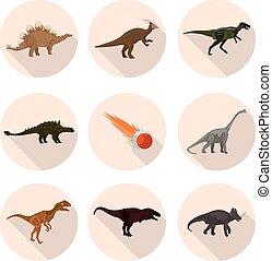 flat icons dinosaurs