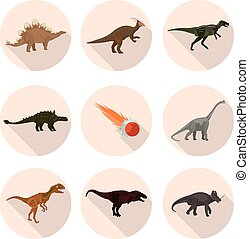 flat icons dinosaurs