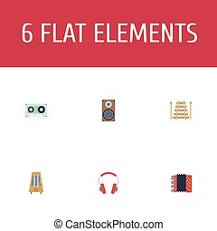 Flat Icons Earphone, Tape, Rhythm Motion And Other Vector Elements. Set Of Audio Flat Icons Symbols Also Includes Headphones, Music, Percussion Objects.