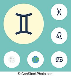 Flat Icons Earth Planet, Fishes, Lunar And Other Vector Elements. Set Of Astrology Flat Icons Symbols Also Includes Twins, Horoscope, Gemini Objects.