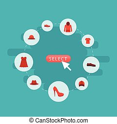 Flat Icons Elegant Headgear, Evening Dress, Man Footwear And Other Vector Elements. Set Of Dress Flat Icons Symbols Also Includes Pullover, Sundress, Sneakers Objects.