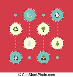 Flat Icons Emperor, Wood, Tree And Other Vector Elements. Set Of Eco Flat Icons Symbols Also Includes Water, Moon, Bear Objects.