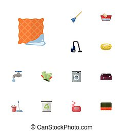 Flat Icons Faucet, Wisp, Washcloth And Other Vector Elements. Set Of Hygiene Flat Icons Symbols Also Includes Soap, Bast, Wash Objects.