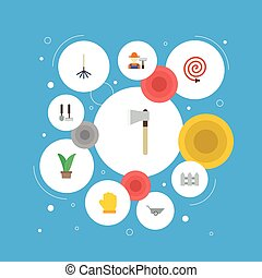 Flat Icons Fence, Axe, Grower And Other Vector Elements. Set Of Agriculture Flat Icons Symbols Also Includes Fruiter, Hosepipe, Hedge Objects.