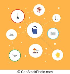 Flat Icons Fence, Bucket, Cutter And Other Vector Elements. Set Of Agriculture Flat Icons Symbols Also Includes Fencing, Car, Fruiter Objects.