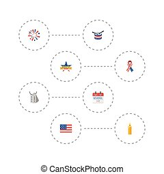 Flat Icons Fire Wax, Memorial Day, Musical Instrument And Other Vector Elements. Set Of History Flat Icons Symbols Also Includes Firework, Awareness, Banner Objects.