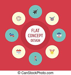Flat Icons Firecracker, Awareness, Ribbon And Other Vector Elements. Set Of Memorial Flat Icons Symbols Also Includes Banner, Aircraft, Plane Objects.