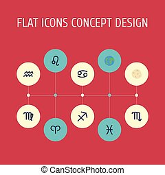 Flat Icons Fishes, Comet, Lion And Other Vector Elements. Set Of Astronomy Flat Icons Symbols Also Includes Aqurius, Scorpion, Fishes Objects.