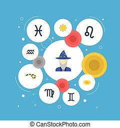 Flat Icons Fishes, Lion, Water Bearer And Other Vector Elements. Set Of Astronomy Flat Icons Symbols Also Includes Constellation, Human, Sunshine Objects.