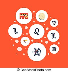 Flat Icons Fishes, Zodiac Sign, Ram And Other Vector Elements. Set Of Galaxy Flat Icons Symbols Also Includes Lion, Meteor, Aries Objects.