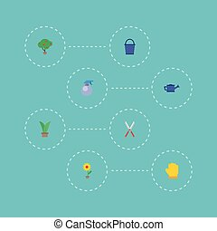 Flat Icons Flowerpot, Spray Bottle, Green Wood And Other Vector Elements. Set Of Agriculture Flat Icons Symbols Also Includes Gloves, Scissors, Can Objects.