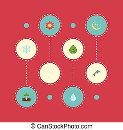 Flat Icons Foliage, Playful Fish, Sprout And Other Vector Elements. Set Of Eco Flat Icons Symbols Also Includes Blob, Snowflake, Power Objects.