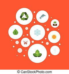 Flat Icons Foliage, Sunshine, Beauty Insect And Other Vector Elements. Set Of Eco Flat Icons Symbols Also Includes Power, Playful, Moth Objects.