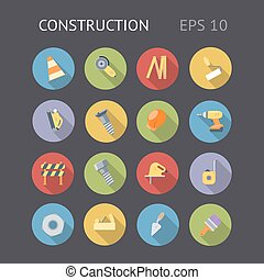 Flat Icons For Construction
