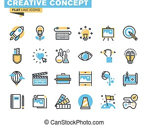 Flat icons for creative process