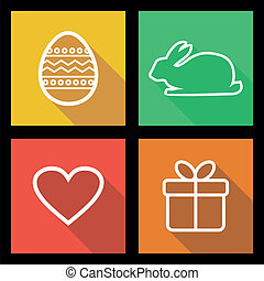 Flat icons for Easter holidays