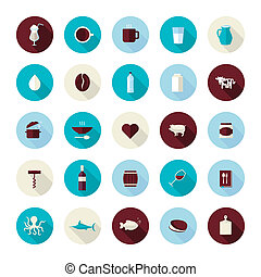 Flat icons for food and drink