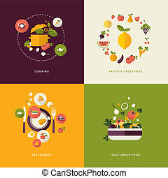 Flat icons for food and restaurant - Set of flat design...