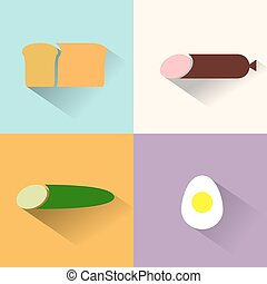Flat icons for food.