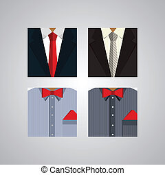 Four square icons for men's formal wear.