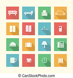 Flat icons for hotel