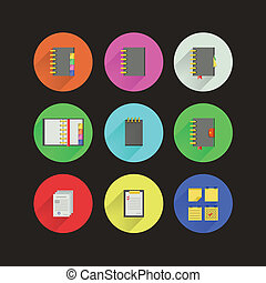 Nine circle color icons with notebooks for business on black.