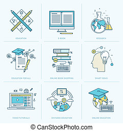 Flat icons for online education