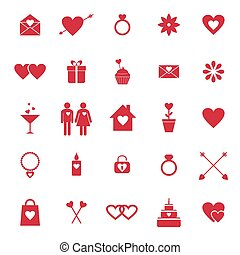 Flat icons for Valentine day or wedding design