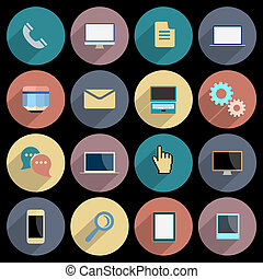 Flat Icons for web and mobile applications objects, business and technology