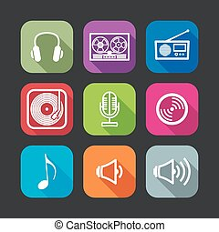 flat icons for web and mobile applications with musical ...