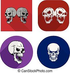 Flat icons for website, aggressive skulls, on white background,