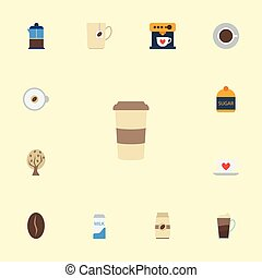 Flat Icons French Press, Cappuccino, Arabica Bean And Other Vector Elements. Set Of Coffee Flat Icons Symbols Also Includes Capsule, Sugar, Cup Objects.